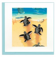 "6"" x 6"" Quilling Baby Sea Turtles Card"