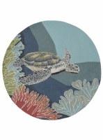 5' Round Ocean Turtle Rug