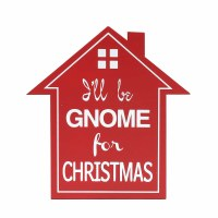 """9"""" Red Gnome For Christmas Wooden Plaque"""