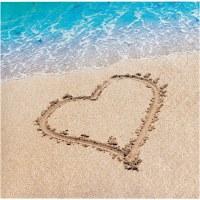 "5"" Square Beach Heart Beverage Napkin"