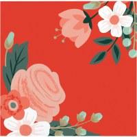 """5"""" Square Modern Floral Beverage Napkin"""