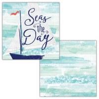 """5"""" Square Seas The Day Beverage Napkin"""