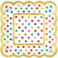 "5"" Square Pack of 36 Multicolored Dot Plate"