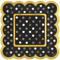 "5"" Square Pack of 36 Black Dot Plates"