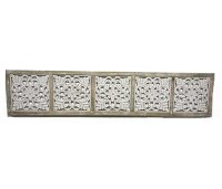 """13"""" x 65"""" Natural White Washed 5 Square Openwork Panel"""