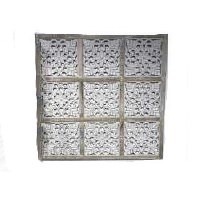 """35"""" x 48"""" Natural White Washed 9 Square Openwork Panel"""