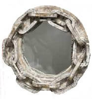 """24"""" Round White Washed Large Chain Wooden Mirror"""