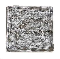 """35"""" Square White Washed Carved Wooden Plaque"""