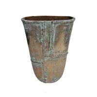 "12"" Distressed Gold Finish and Verdigris Flair Metal Vase"