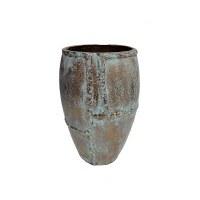 """12"""" Distressed Gold Finish and Verdigris Round Metal Vase"""