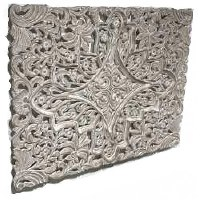 """35"""" x 48"""" White Washed Openwork Wooden Wall Plaque"""