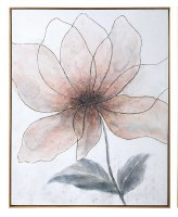"""51"""" x 41"""" Pink and Gray Bloom 1 Framed Canvas"""