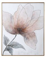 """51"""" x 41"""" Pink and Gray Bloom 2 Framed Canvas"""