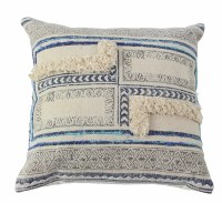 """20"""" Square Beige and Blue Fringe Pattern Pillow"""