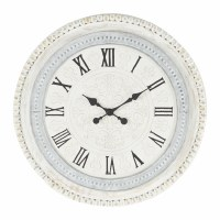 """22"""" Round White Washed and Wooden Bead Clock"""