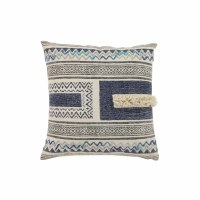 "20"" Square Beige and Blue Fringe Pattern Pillow"