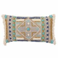 """14"""" x 24"""" Mulitcolored Fringe Pattern Pillow"""