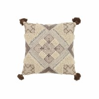 """20"""" Square Beige and Taupe Pattern Pillow"""