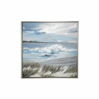 """39"""" Square Shore With Wave Framed Canvas"""