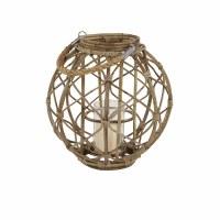 "15"" Natural Round Rattan Lantern"