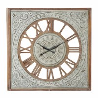 """36"""" Square Wooden and Metal Openwork Clock"""