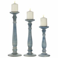 Set of 3 Antique Blue Pillar Candle Holders