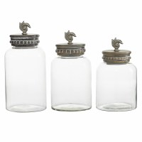 Set of 3 Glass Jars With Wooden Top