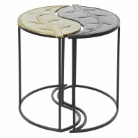 "Set of 2 20"" Round Leaf Shaped Table"