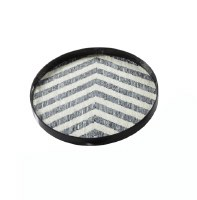 """24"""" Round Mother Of Pearl Chevron Tray"""