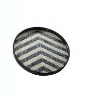 """20"""" Round Mother Of Pearl Chevron Tray"""