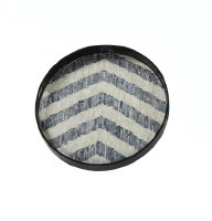 """16"""" Round Mother Of Pearl Chevron Tray"""