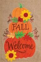 """18"""" x 12"""" Mini Pumpkin Stack Welcome Flag"""