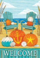"18"" x 12"" Mini Beach Pumpkins Welcome Flag"