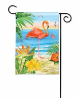 "18"" x 13"" Mini Flamingo At Beach Garden Flag"