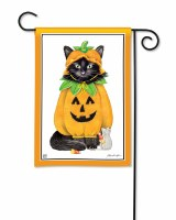 "18"" x 13"" Mini Halloween Cat Garden Flag"