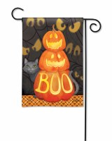 "18"" x 13"" Who's There Pumpkin Garden Flag"