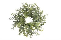 """3"""" Green and Gray Eucalyptus Candle Ring"""