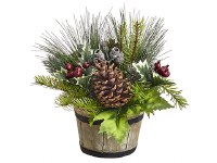 "11"" Holly and Pine Arrangement Wooden Pot"