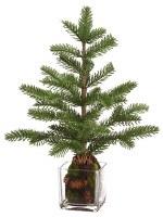 "17"" Green Pine Tree In Glass Vase"