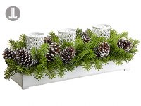 "28"" Green Pine With 3 White Votive Holders Centerpiece"