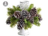 """13"""" Green Pine With 1 White Votive Holder Centerpiece"""