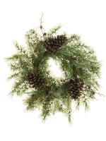 """20"""" Green Pine Wreath With Pine Cones"""