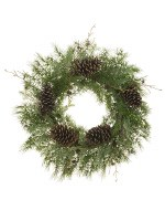 """27"""" Green Pine Wreath With Pine Cones"""