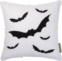 "12"" Square White Pillow With Bats"