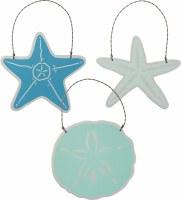 Set of 3 Multicolored Shell Ornaments