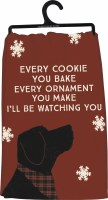 """28"""" Square Christmas Dog Watching Kitchen Towel"""