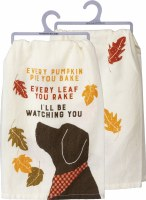 "28"" Square Fall Dog Watching Kitchen Towel"