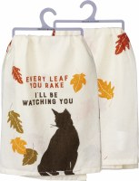 """28"""" Square Fall Cat Watching Kitchen Towel"""