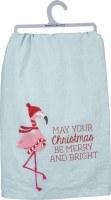 "28"" Square Christmas Flamingo Kitchen Towel"
