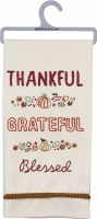 "26"" x 18"" Thankful Grateful Embroidered Kitchen Towel"